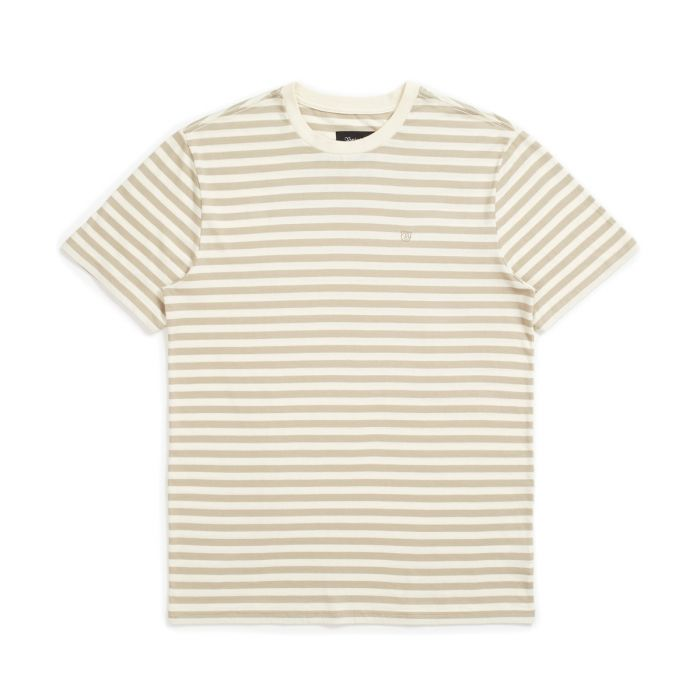 Brixton Hilt Mini Stripe Short Sleeve Knit in Dove and Rock