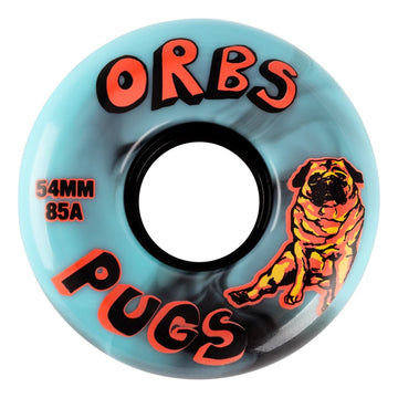 Orbs Pugs Black and Blue Swirl Skate Wheel 85a in 54mm