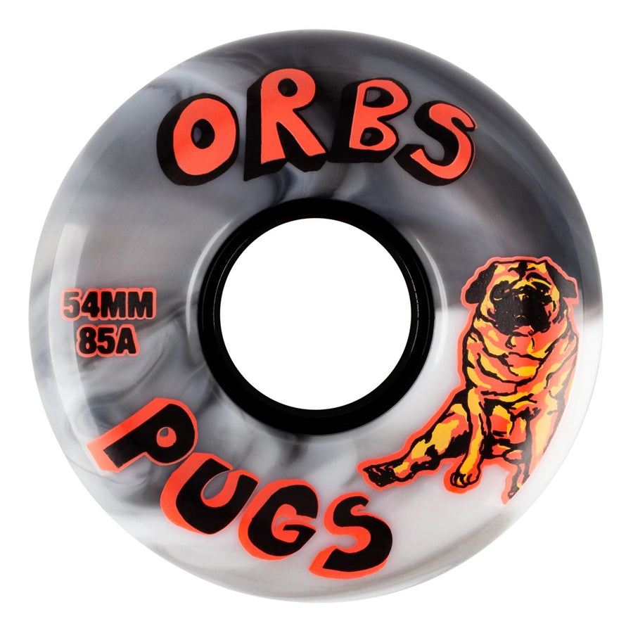 Orbs Pugs Black and White Swirl Skate Wheel 85a in 54mm