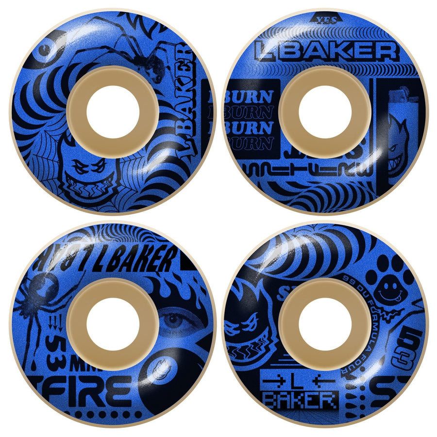 Spitfire Formula Four Leo Baker Classic Skate Wheel in Natural 99 duro 54mm