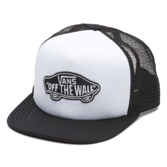 Vans Classic Patch Trucker Hat in White and Black