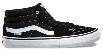 Vans Sk8-Mid Pro Skate Shoe in Black and White