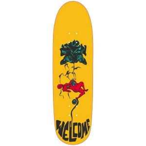 Welcome Lessrach on Atheme Skateboard Deck in Yellow