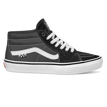 Vans Sk8-Mid Pro Grosso Skate Shoe in Black and White and Emo Leather