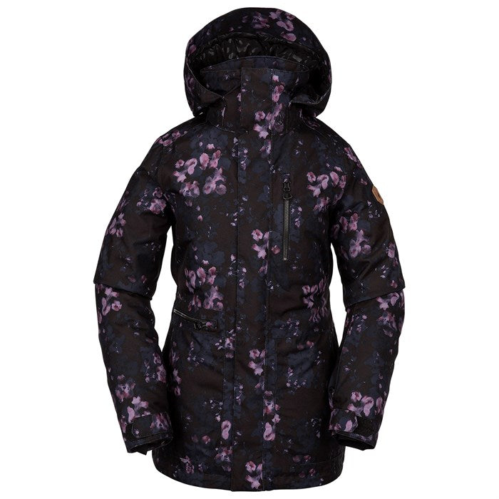 2020 Volcom Shelter 3D Stretch Womens Snow Jacket in Black Floral Print