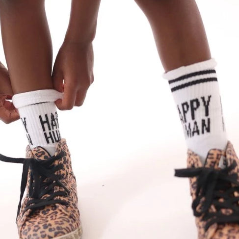 HAPPY HUMAN SOCKS WHITE/BLACK