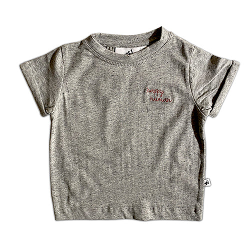 HAPPY HUMAN (SCRIPT) T-SHIRT GREY MELANGE