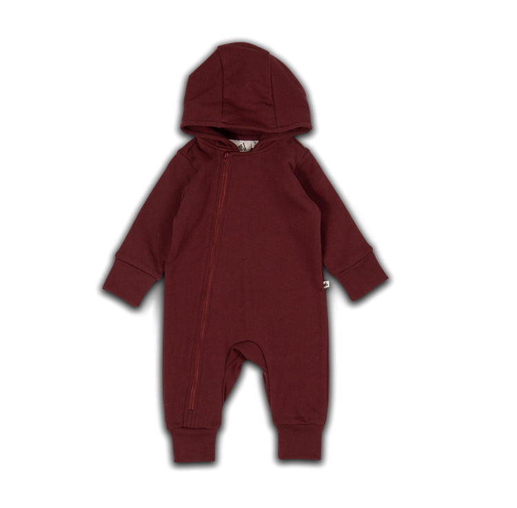 HOODED PLAYSUIT ZINFANDEL