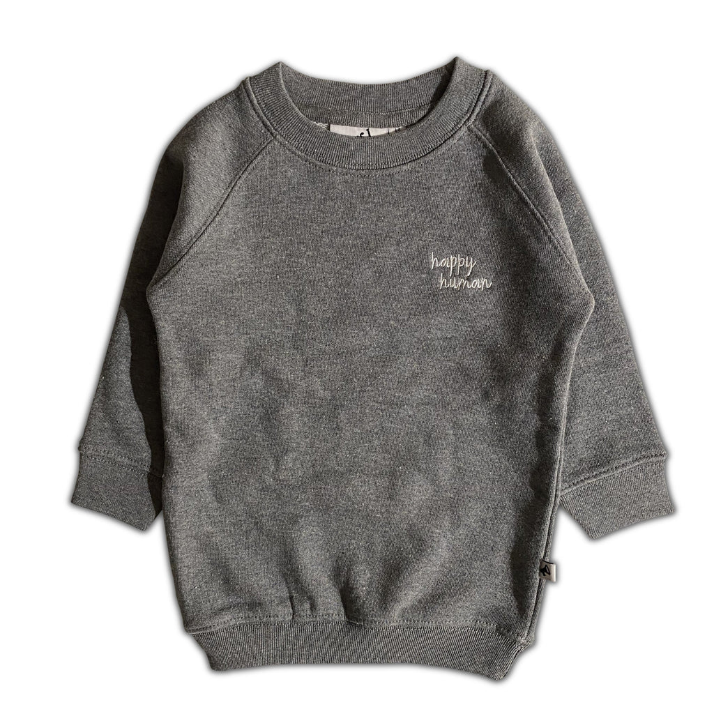 HAPPY HUMAN (SCRIPT) SWEATER DRESS ANTHRACITE