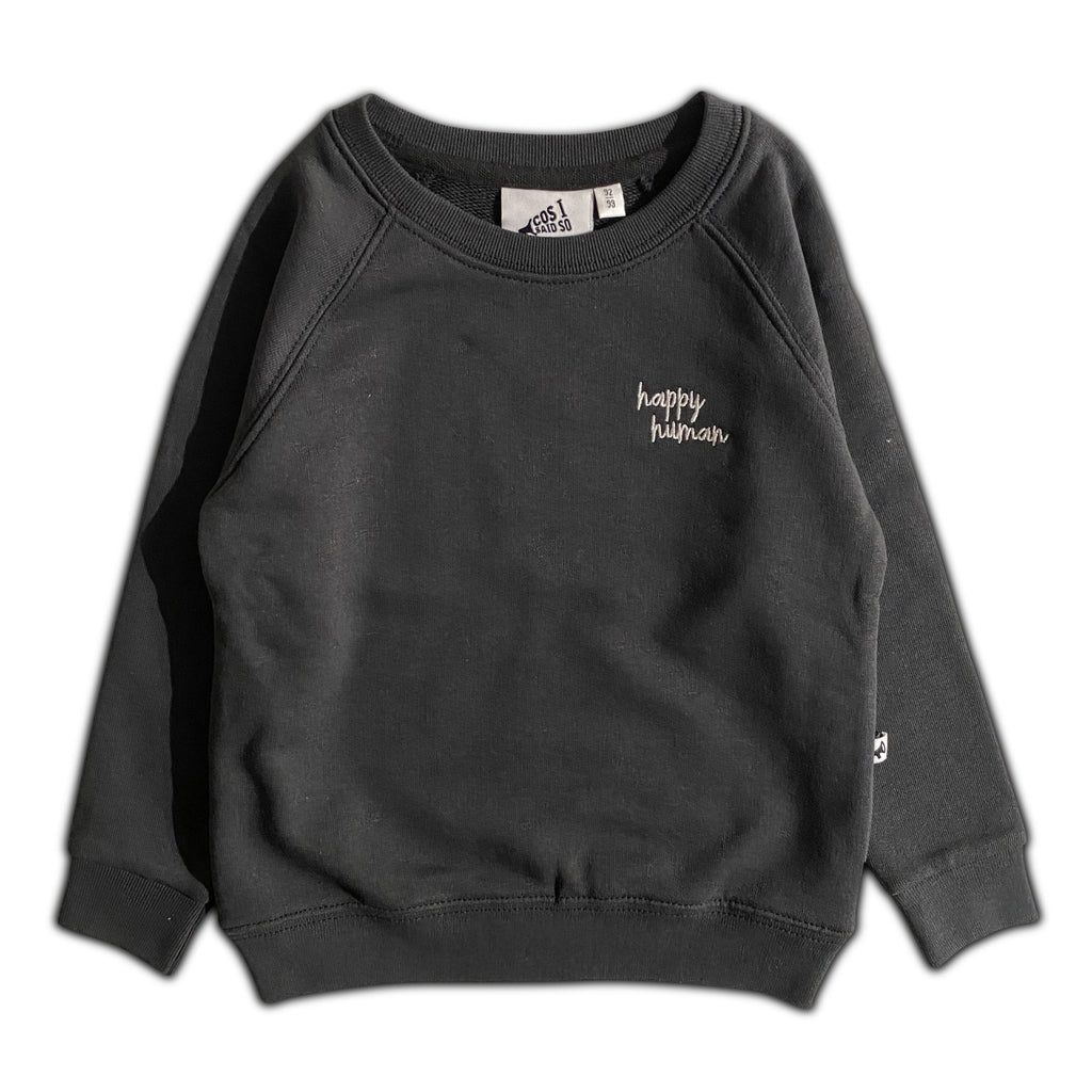 HAPPY HUMAN (SCRIPT) SWEATER WASHED BLACK