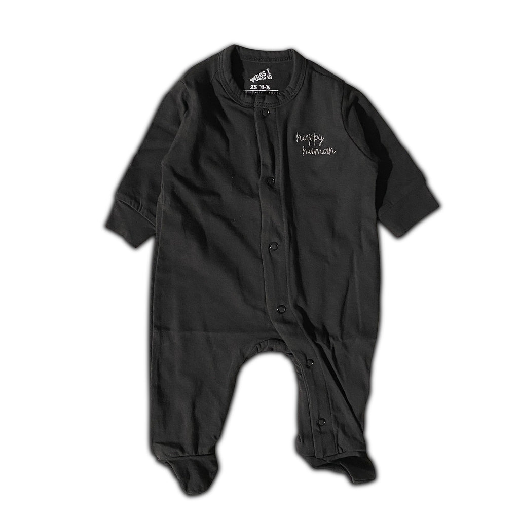 HAPPY HUMAN (SCRIPT) ONESIE BLACK