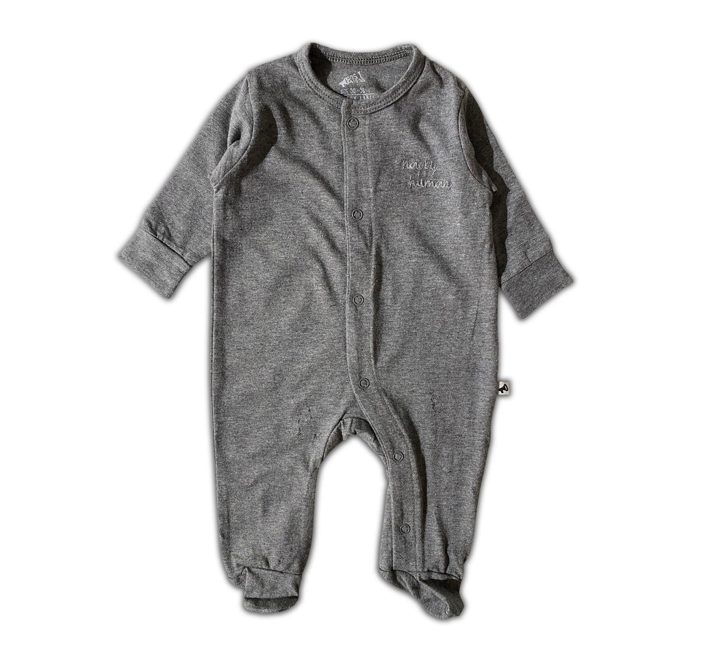 HAPPY HUMAN (SCRIPT) ONESIE ANTHRACITE
