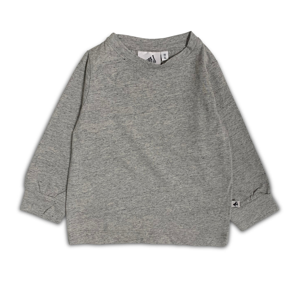 T-SHIRT GREY MELANGE LONG SLEEVE BLANCO