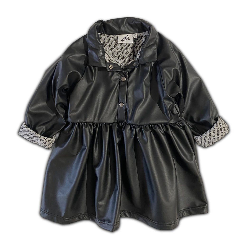 FAUX LEATHER BABYDOLL SHIRT DRESS