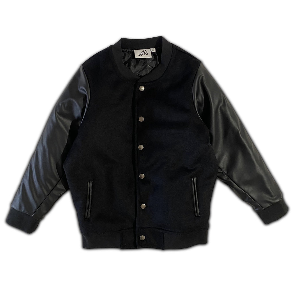 FAUX LEATHER VARSITY JACKET