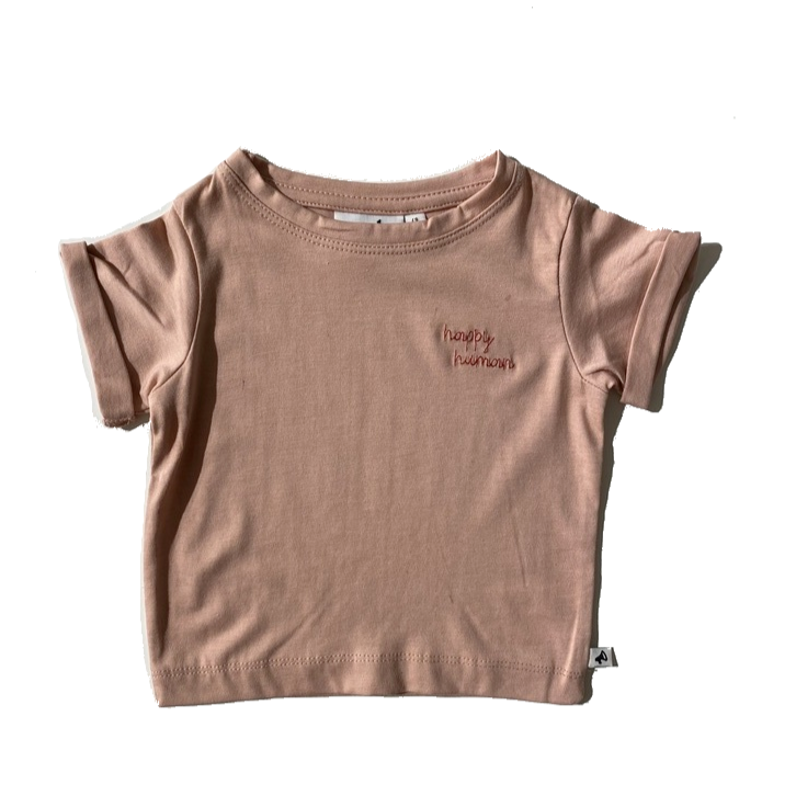 HAPPY HUMAN (SCRIPT) T-SHIRT BLUSH