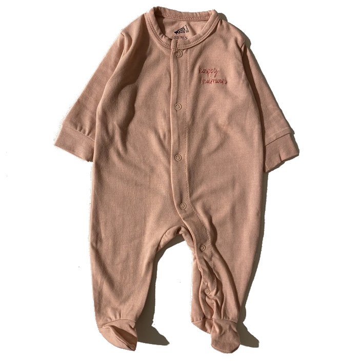 HAPPY HUMAN (SCRIPT) ONESIE BLUSH