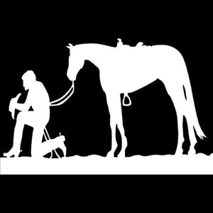 15.6cm*10cm Praying Cowboy And Horse Saddle Rope Pony Mustang Fashion Vinyl Decal Car Sticker Black/Silver S6-2787 - Az Silver Cowboy Essentials