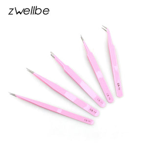 zwellbe Safe Anti-static Stainless Steel Tweezers Repair Maintenance Straight & Curved Tweezer Nipper Eyelash Extension Tools