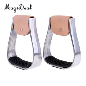 MagiDeal 2 pcs Adult Aluminum Stirrups Equestrian Horse Riding Gear Anti Skid Treads Black - Az Silver Cowboy Essentials