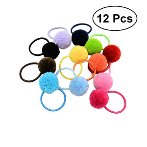 12pcs Solid Fur Ball Hair Ties Band Ponytail Holders Hair Accessories for Baby Girls - Az Silver Cowboy Essentials