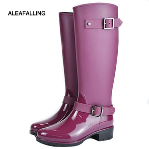 winter boots brand design mid-calf boots  rain boots  woman buckle rubber rain boots w014