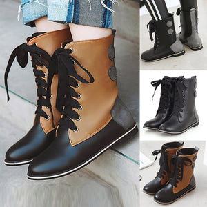 Retro Women Middle Tube Boots Buckle Ankle Boots Combat Martin Boots Shoes - Az Silver Cowboy Essentials