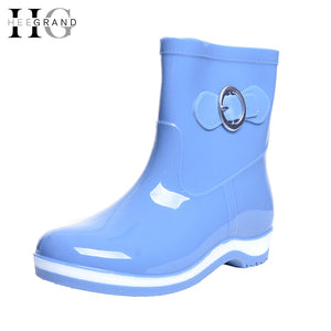 HEE GRAND 2018 New Rain Boots Warm Flats Rubber Women Ankle Boots Casual Platform Shoes Woman  Shoes Size 36-40 XWX4497 - Az Silver Cowboy Essentials