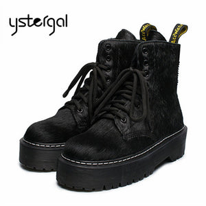 Horsehair Ankle Boots High Boots Female Platform Creepers Rubber Flat Fur Riding Boots - Az Silver Cowboy Essentials