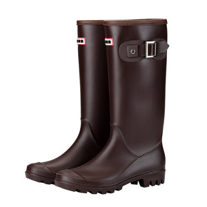 Women Round Toe Buckles Insulated Cold Weather Wellington High Pull-on Rain Boots Warm Lined Waterproof Oil Resistant Winter