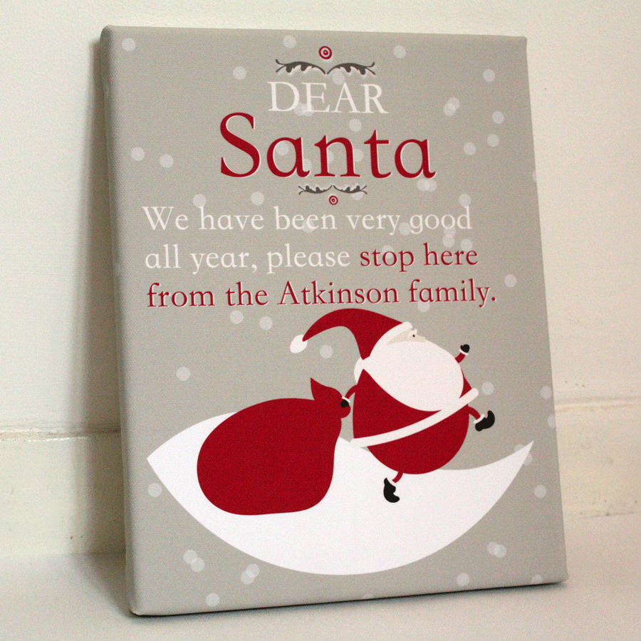 Dear Santa Family Personalised Christmas Decor