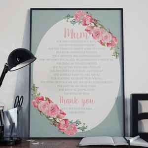 Personalised Mothers Day Circle Design Poem