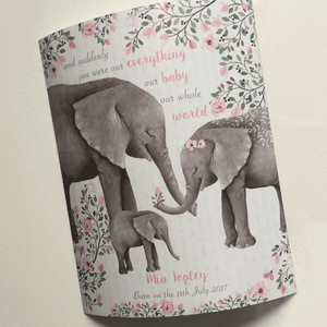 Personalised Elephant Family Keepsake Gift