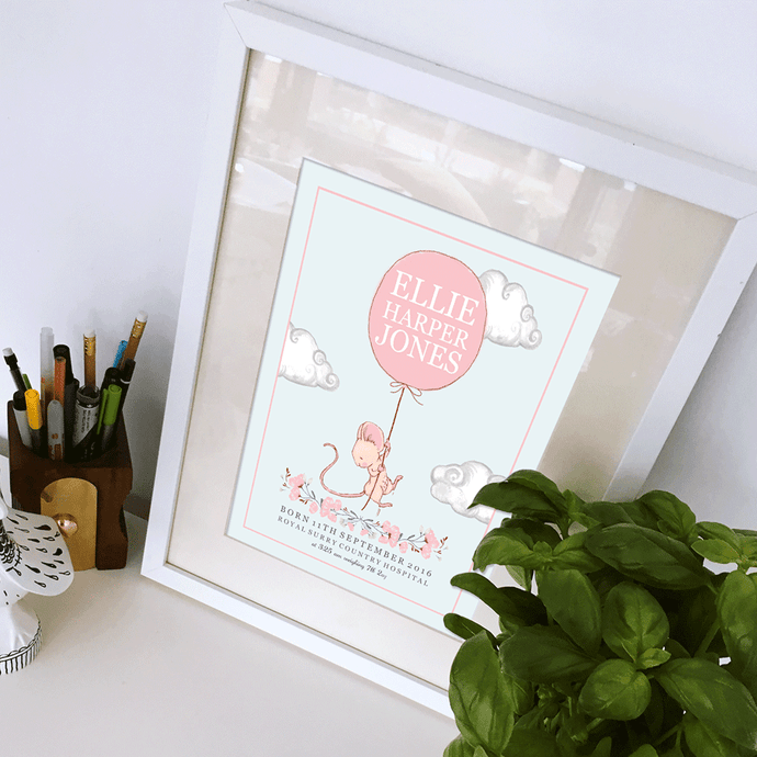 Personalised Nursery Mouse Balloon