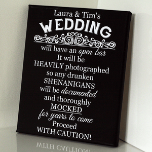 Personalised Wedding Open Bar Sign
