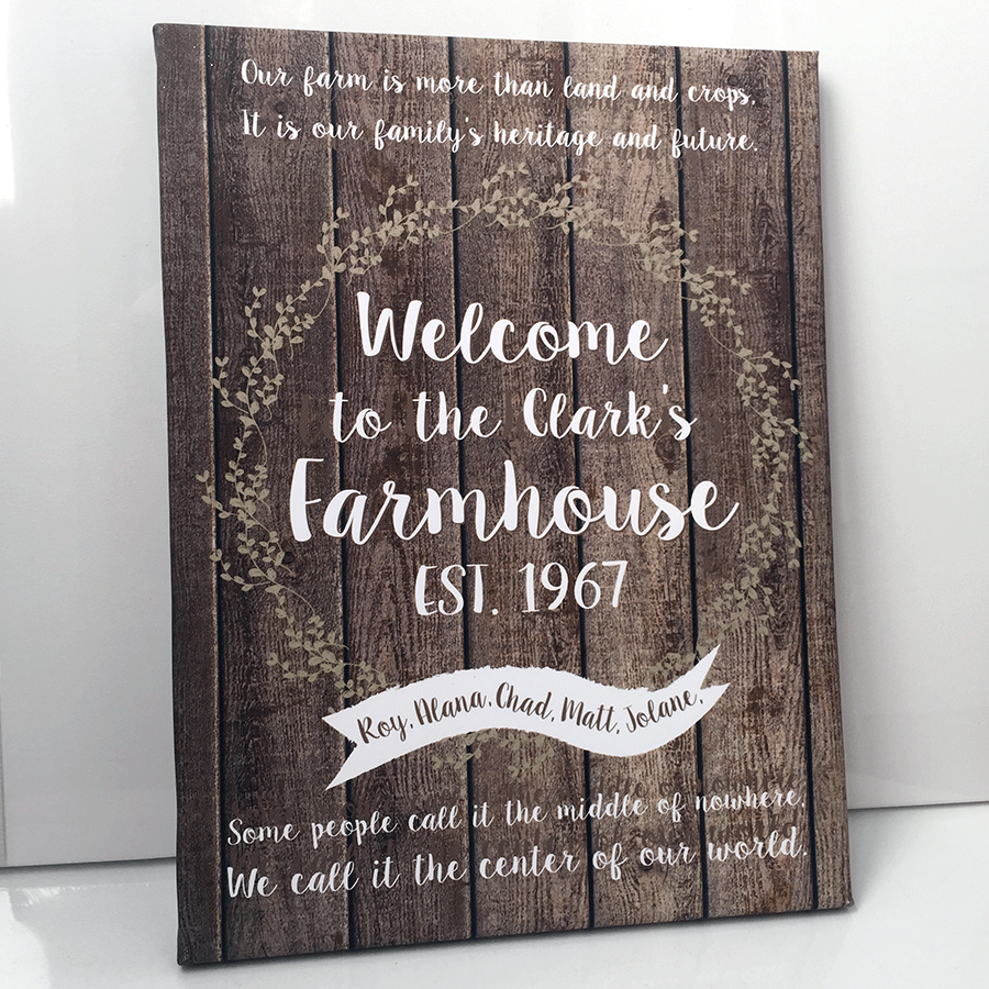 Personalised Welcome To Our Farm House Rustic Home Decor