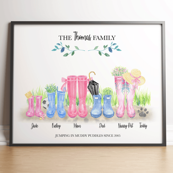 Personalised welly boot family picture