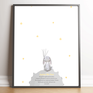 Rabbit On The Moon Thumbprint Nursery Keepsake