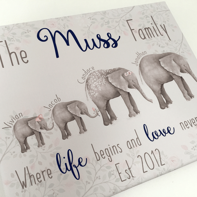 Personalised Elephant Family Keepsake