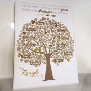 Personalised Family Tree Gift Our Roots Remain As One