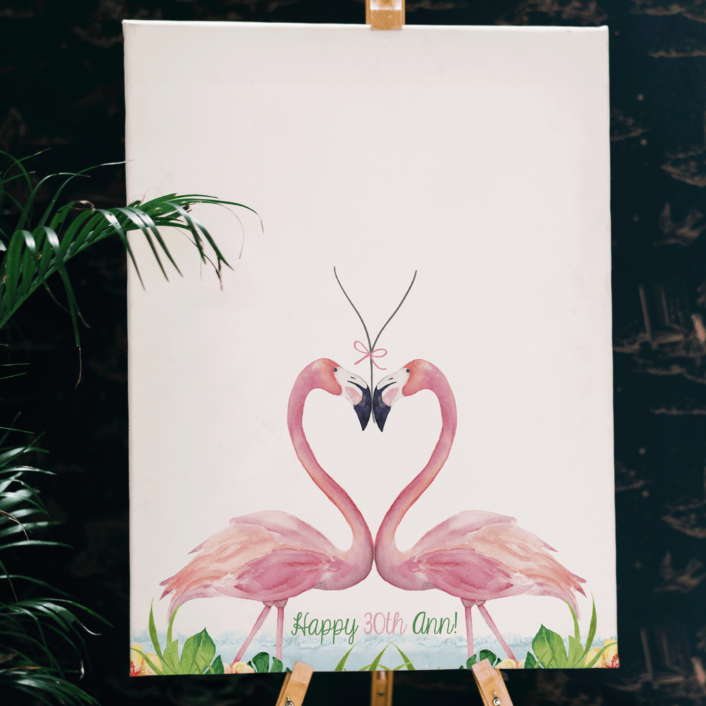 Personalised Flamingo Birth Print Picture Christening Gift Nursery Wall Art