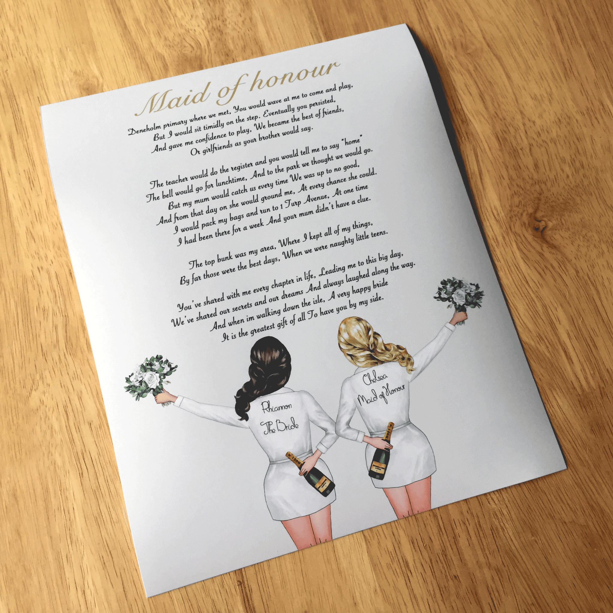 Personalised Maid Of Honour Gift Bridesmaid Poem