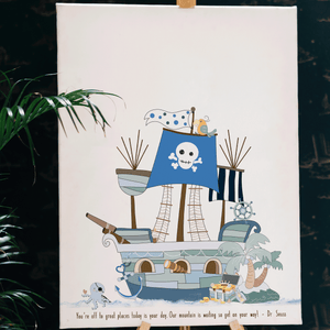Personalised pirate party ideas fingerprint picture thumbprint keepsake little boys bedroom wall art