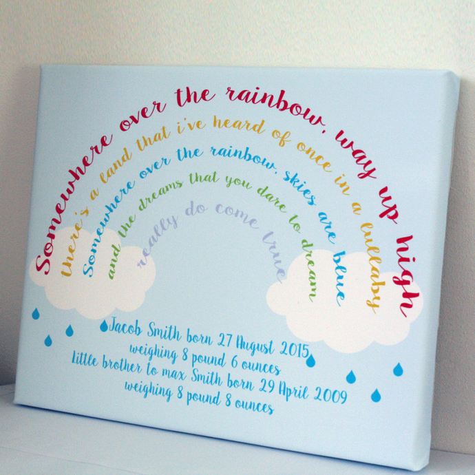 Personalised Rainbow Baby Keepsake