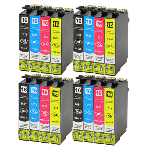 16x 16XL T1631 Ink Cartridges for Workforce WF-2520NF WF-2630WF WF-2750DWF - CTC Printer
