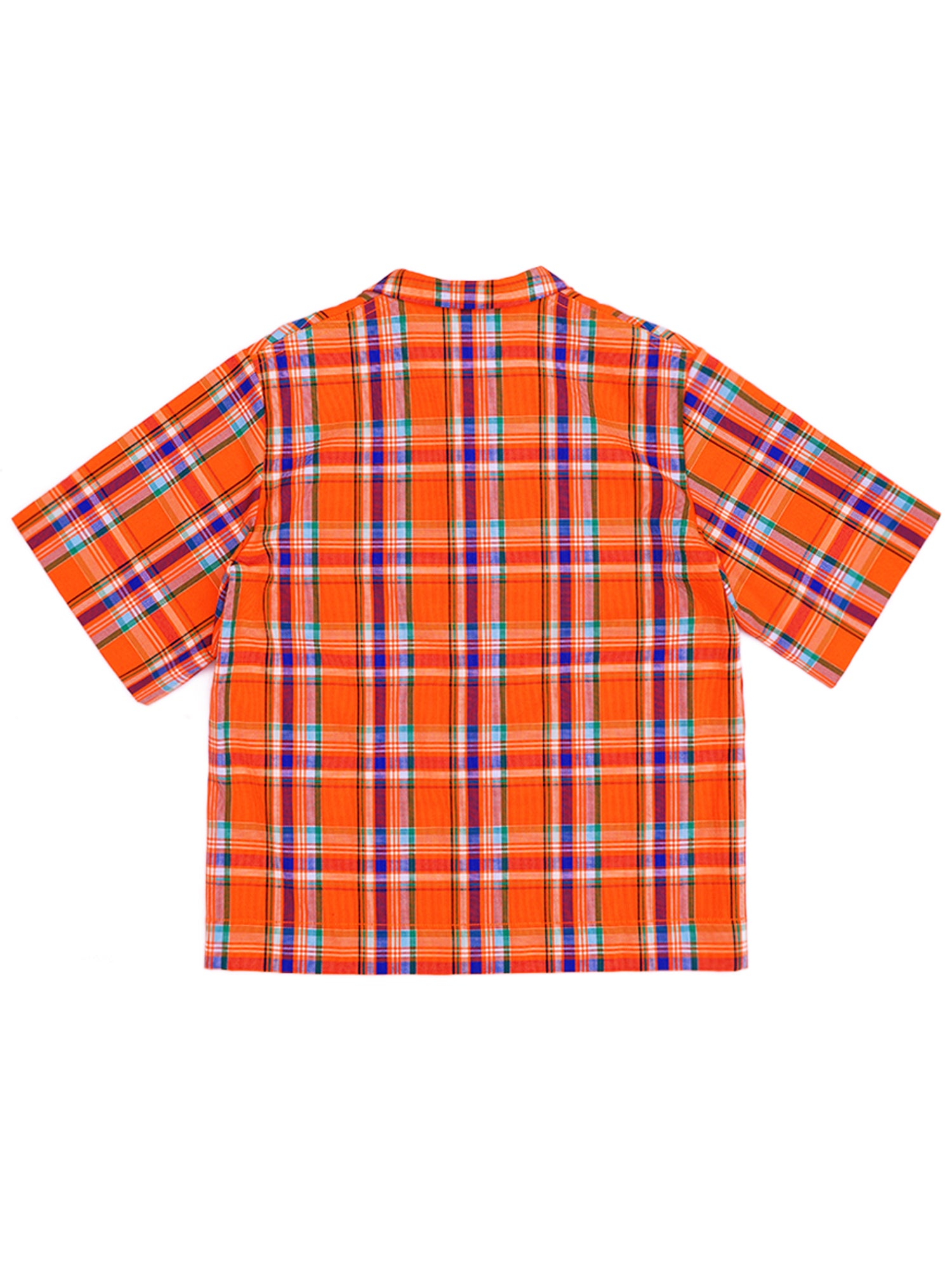 Lapel Plaid Short  Sleeve Shirt