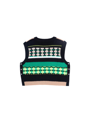 STRIPED AND CHECKERED DOUBLE SIDED V NECK KNIT VEST BLACK