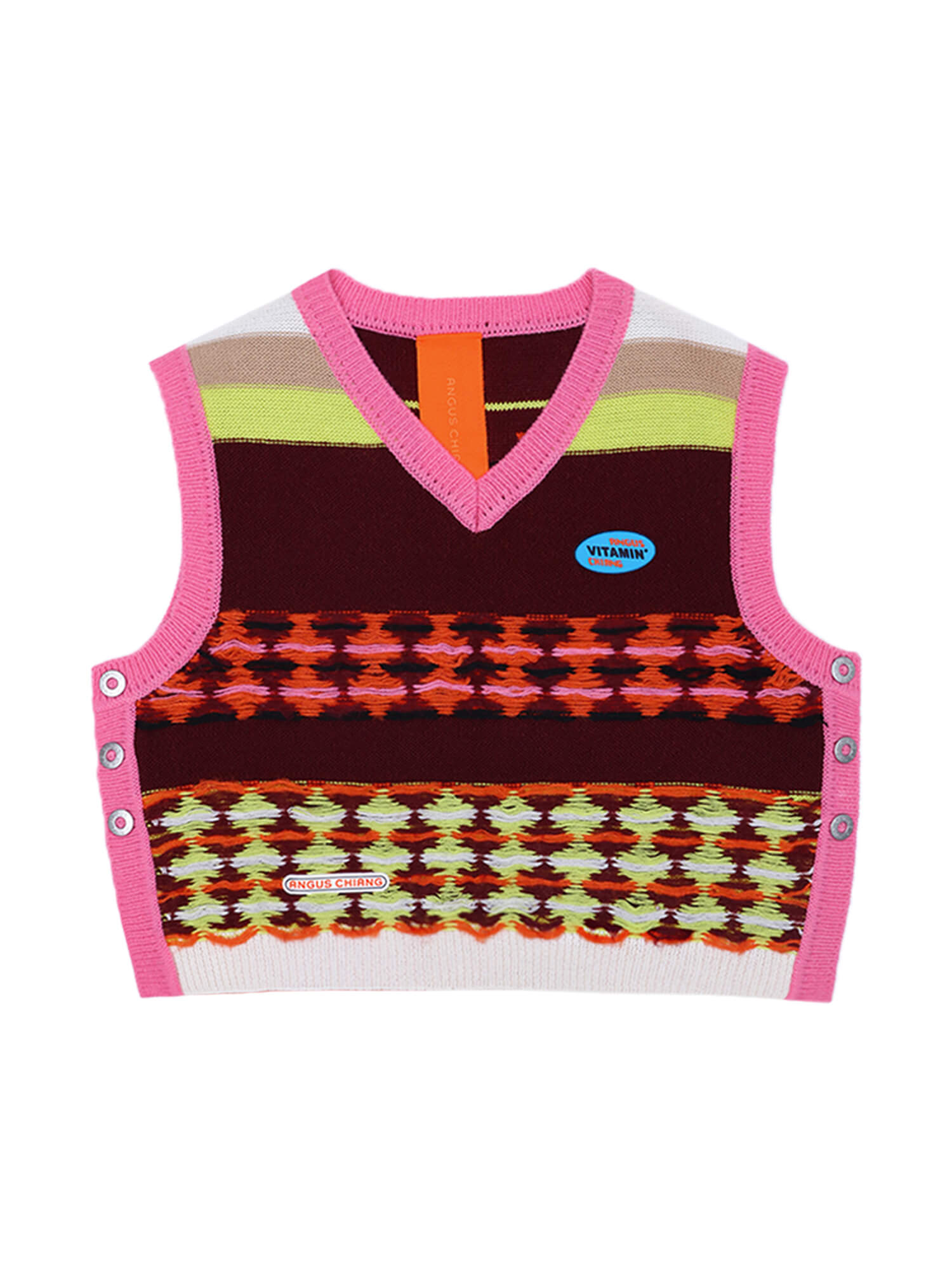 STRIPED AND CHECKERED DOUBLE SIDED V NECK KNIT VEST PINK