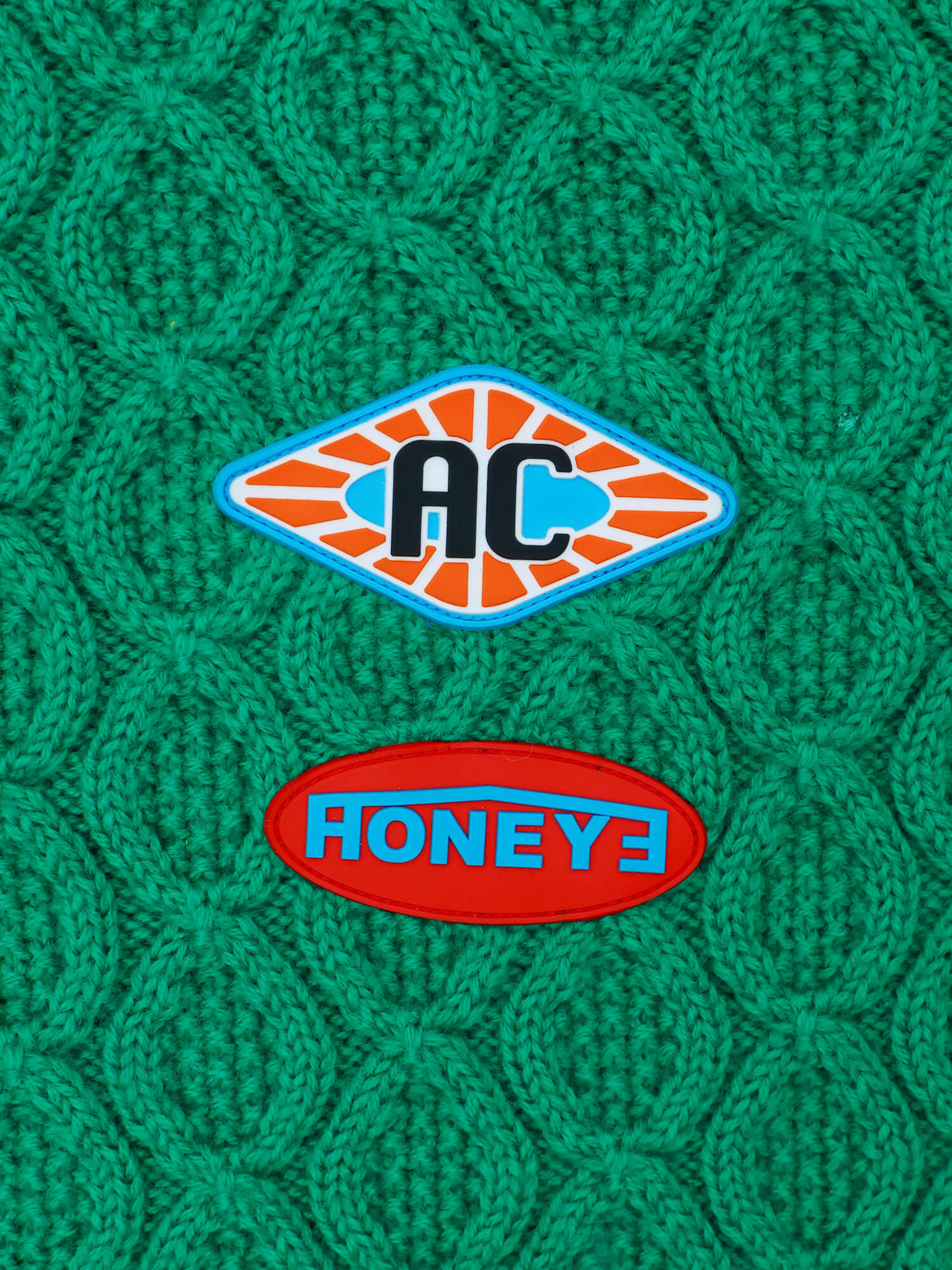 STICKERS ON FRUIT LONG SLEEVE KNIT SWEATER GREEN
