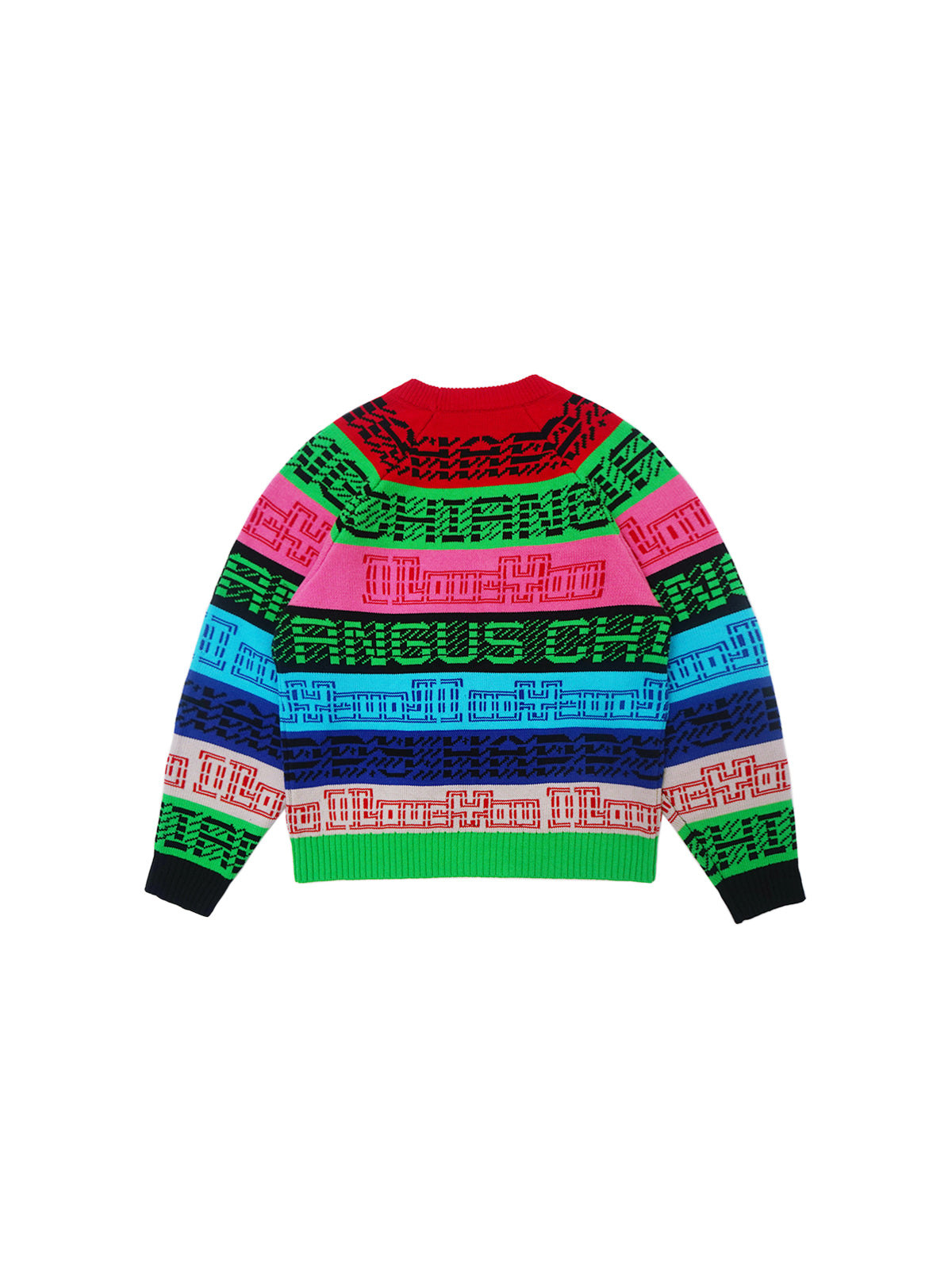 MESSAGE FROM THE FUTURE COLORFUL LOGO STRIPE SWEATER